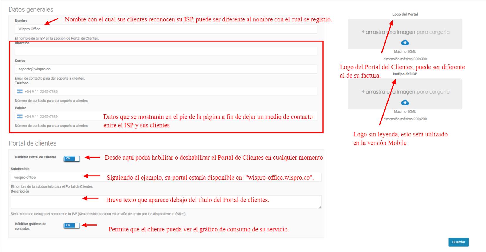Configuración del Portal de Clientes - Detalle de los campos