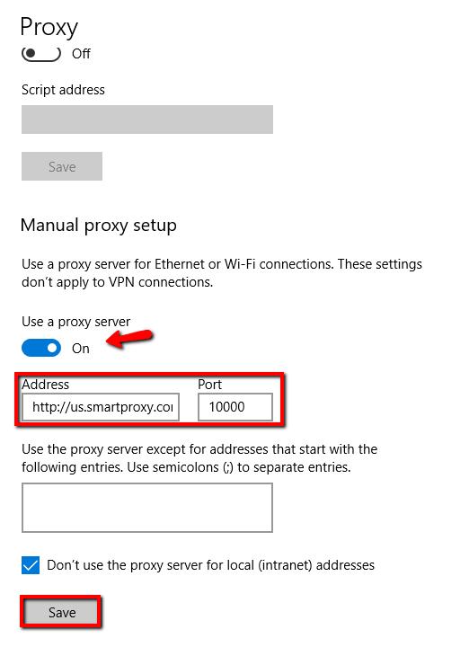 windows proxy setup - manual proxy setup example with US rotating port