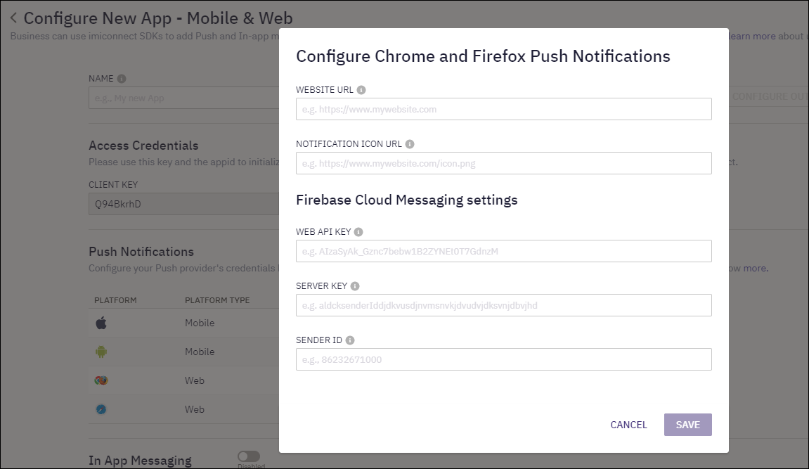Configure Chrome and Firefox Push Notifications