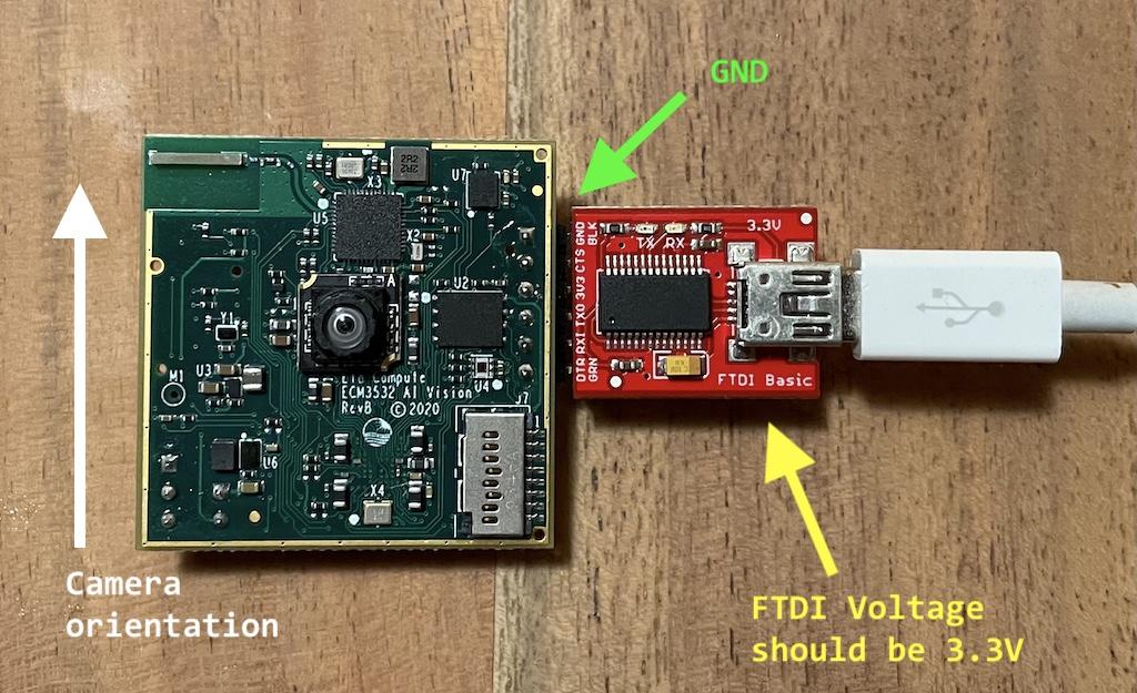 Connecting the Eta Compute ECM3532 AI Vision to your computer using the SparkFun FTDI Basic Breakout board.
