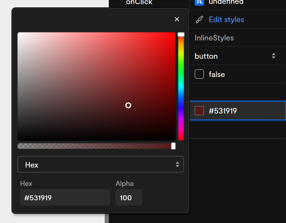 A color property activated to show the color picker fly-out.