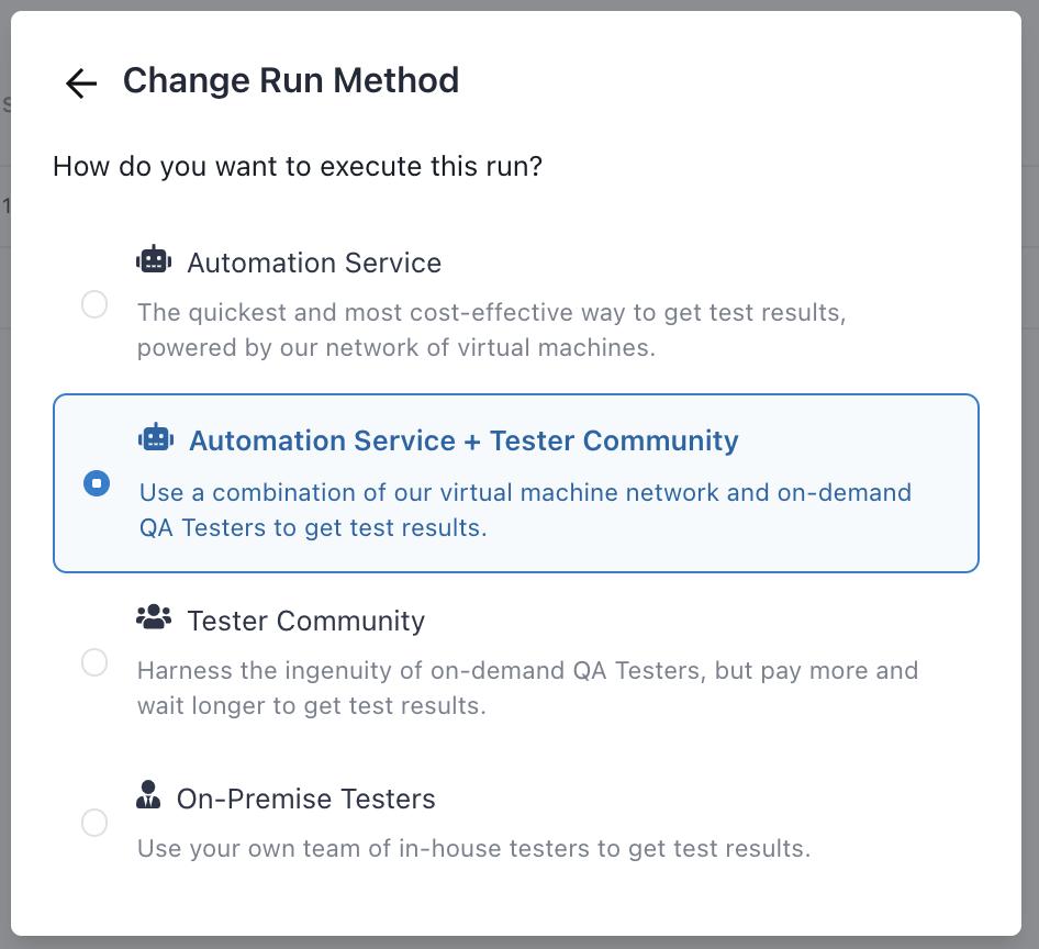 The Change Run Method modal.