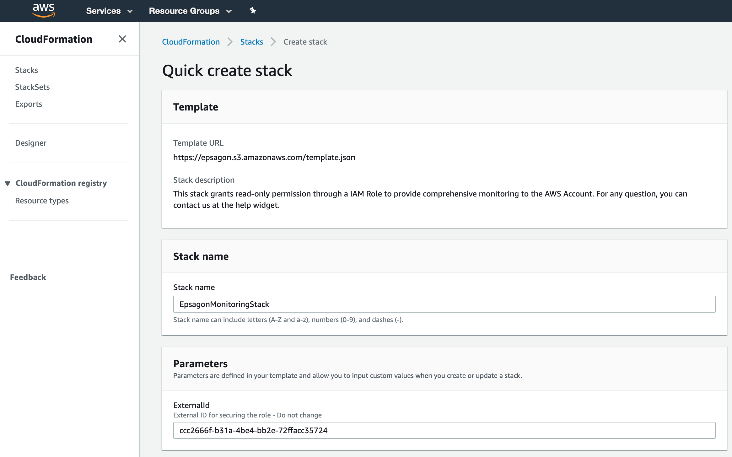 The Quick create stack tag on your AWS account. No need to change any parameter