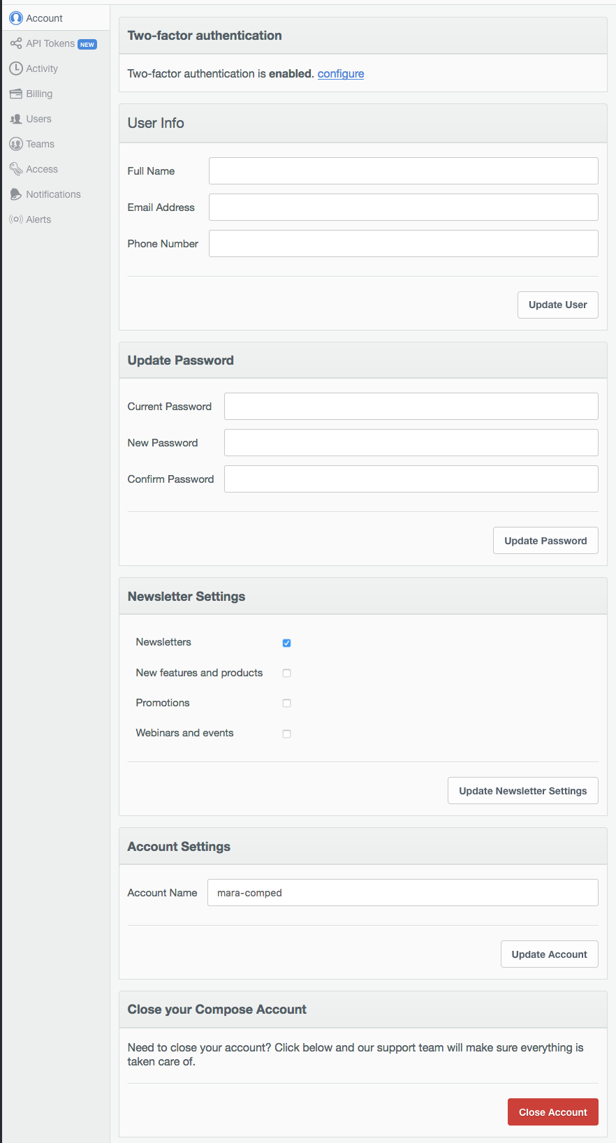 The Accounts panel in the Compose UI.