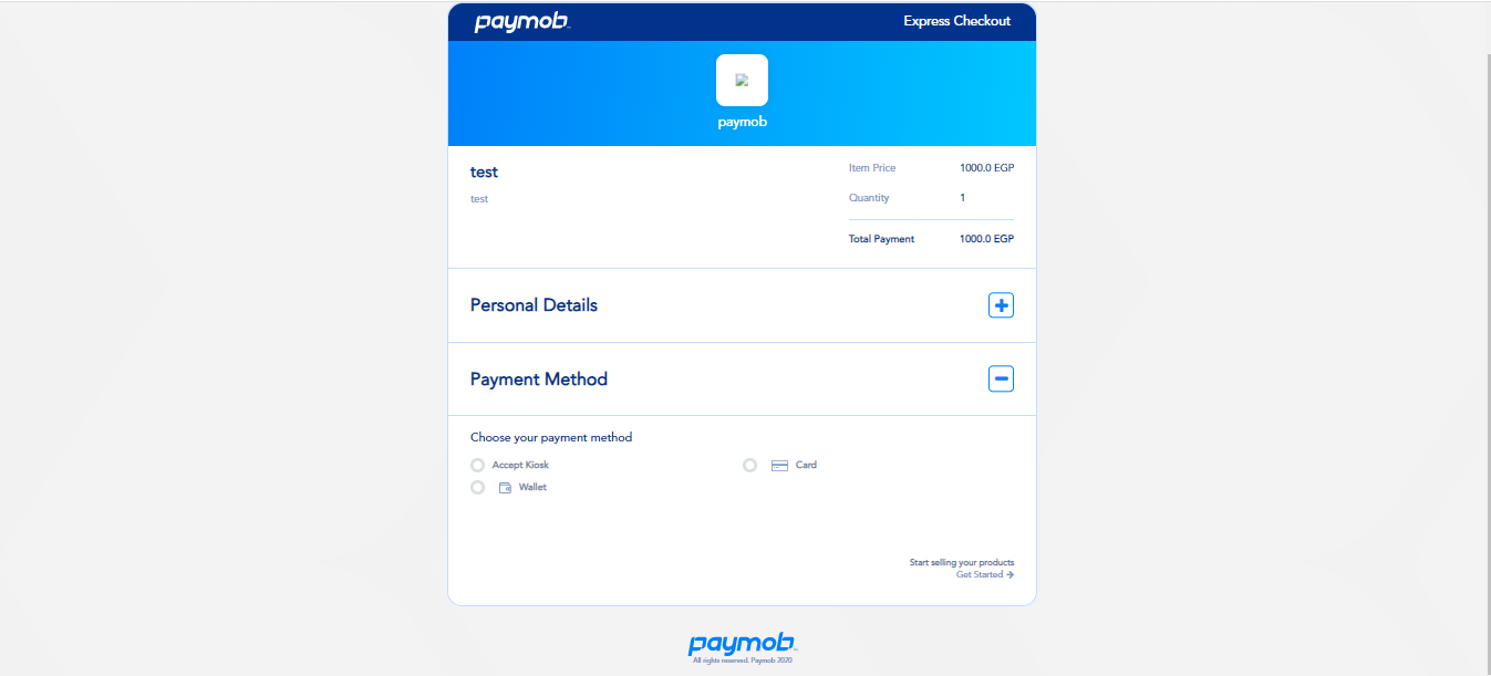 Accept dashboard - Product Payment