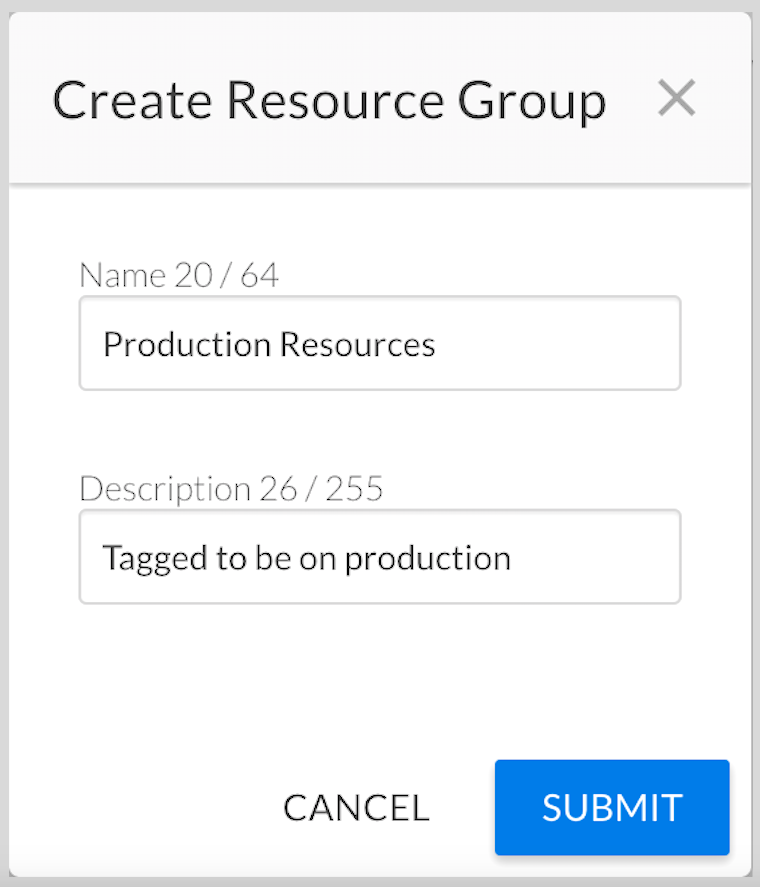 """Creating a """"Production Resources"""" Resources Group"""