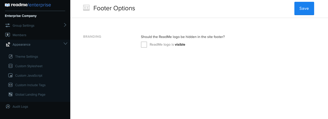 Click the check box to turn off the ReadMe logo across projects in your Enterprise Group