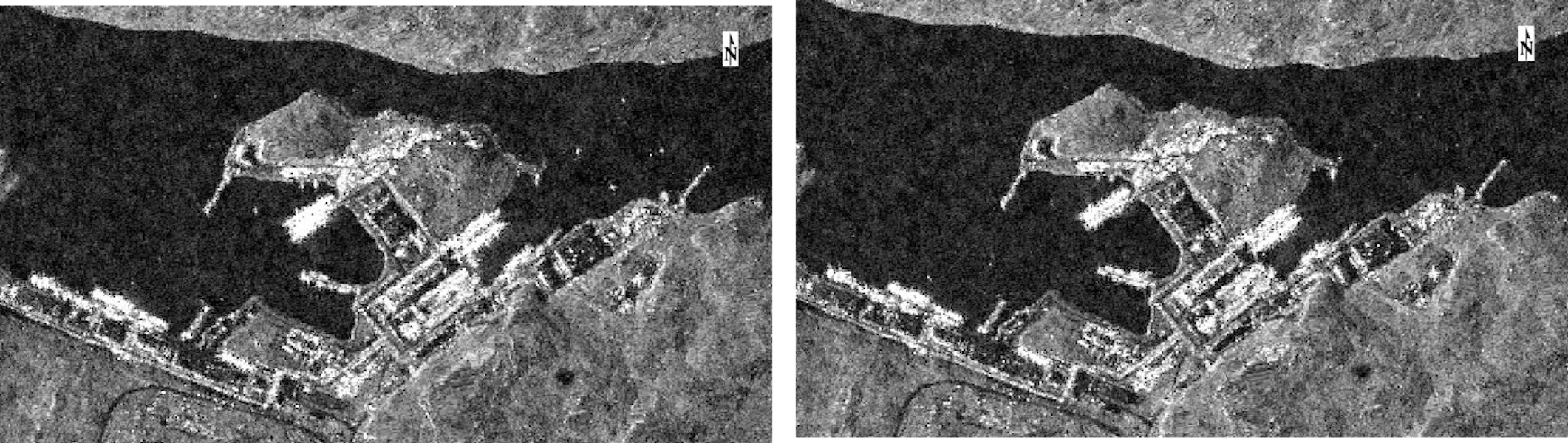 The two images above are the output before and after SAR intensity images