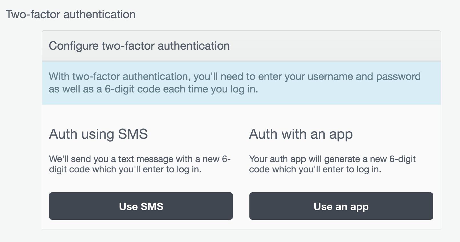 Configure Two-Factor Authentication.