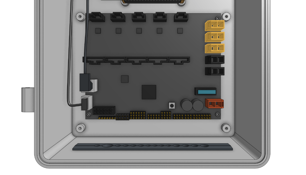 The peripheral connectors are highlighted in orange