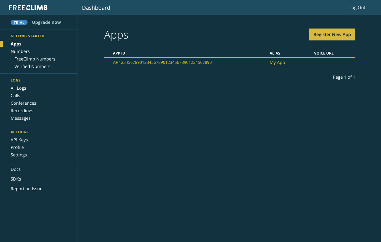 The Dashboard Apps page