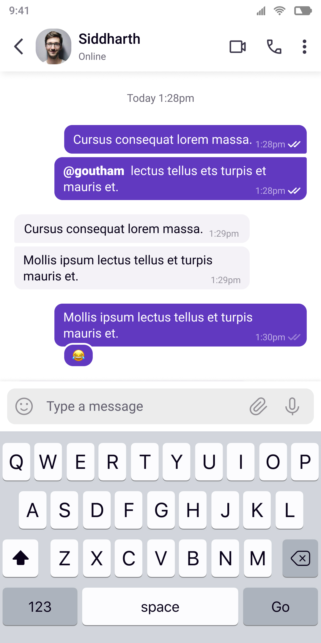 1 to 1 Conversation screen