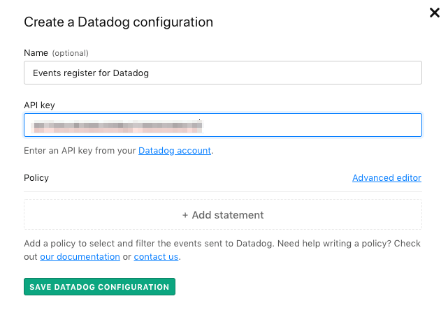 The Create a Datadog configuration screen.