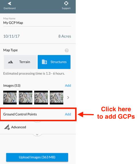 "Use the ""Ground Control Points"" drop-down to add the GCP information"