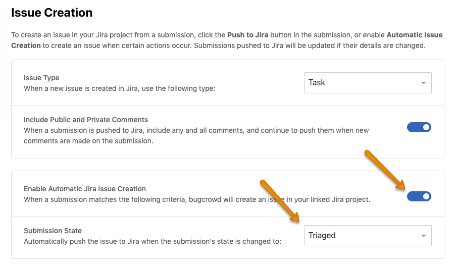 Switching on Automatic JIRA Ticket Creation (New to Triaged)