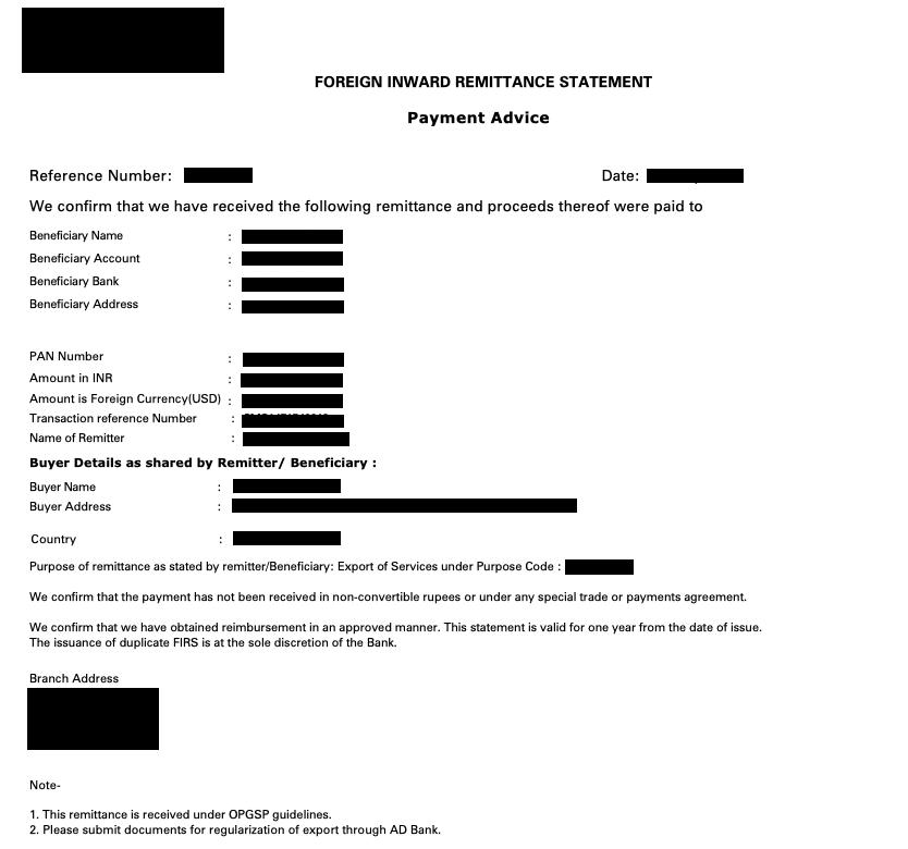 Remittance Statement