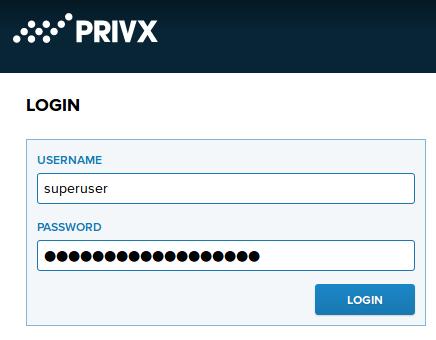 PrivX login page