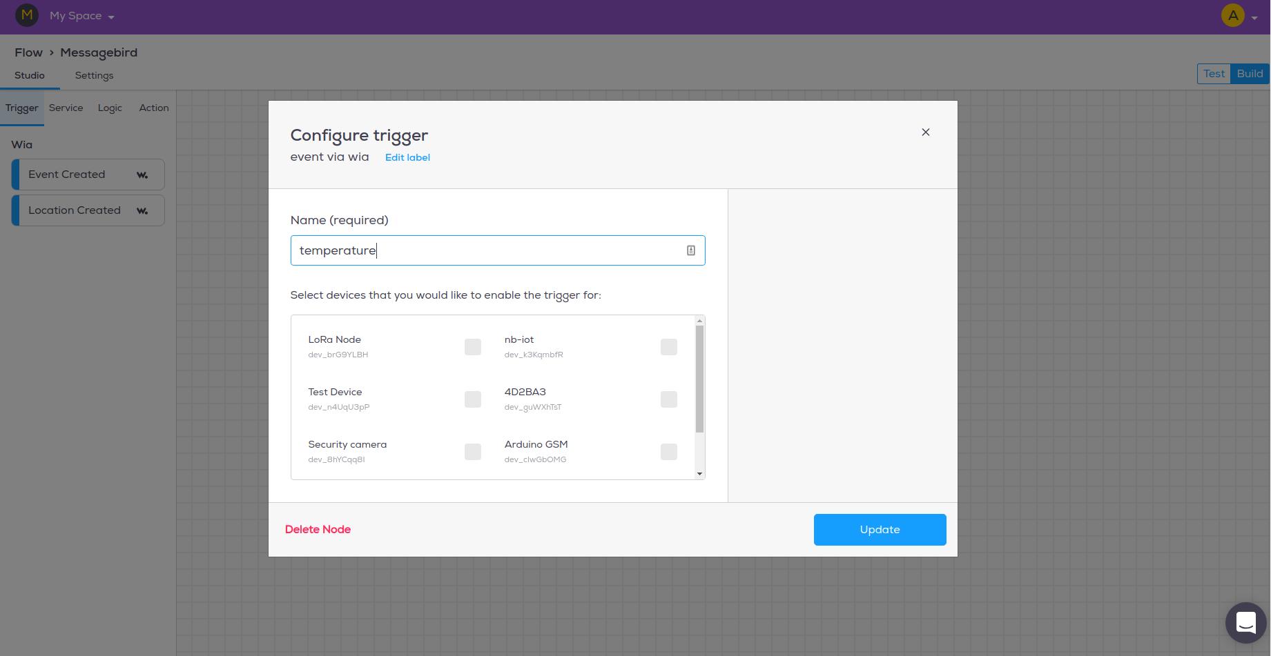 Configure Event trigger