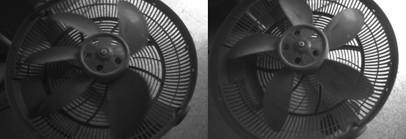 Figure 5. Same scene of a moving fan captured using rolling shutter sensor (left) and global shutter sensor (right). The Left image was taken with the D415 which has a rolling shutter, while the right image was taken with the D435 which uses global shutters.