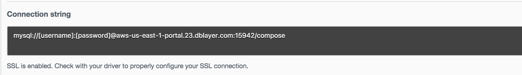 An example connection string from the Compose UI.