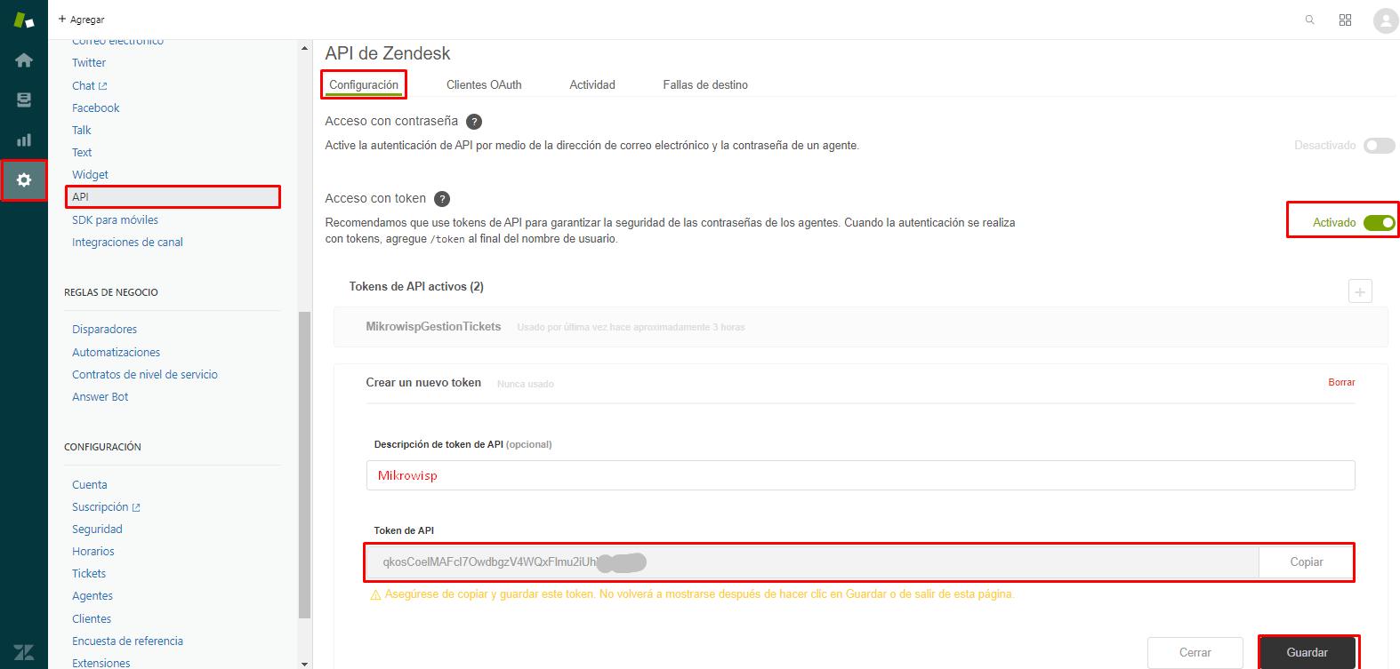 Al generar solo se le mostrara una sola vez la API