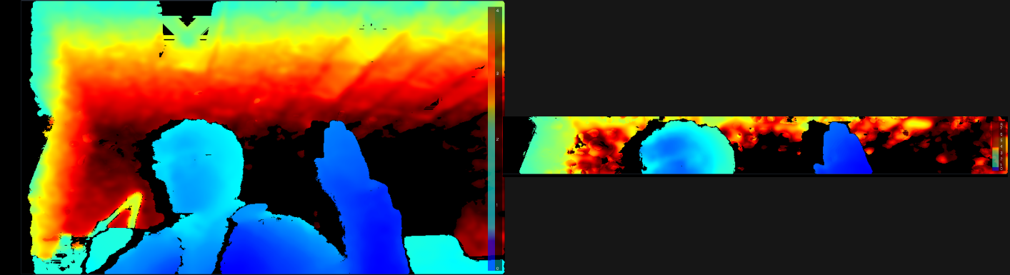 Fig. 1: Depth map from an Intel RealSense D435 depth camera operating at 848x480 (left image) versus the new high-speed capture mode (right image) with a resolution of 848x100, cropped to the vertical center.