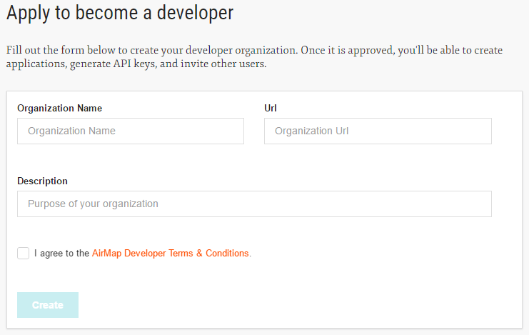 Create a new organization when applying to become a developer