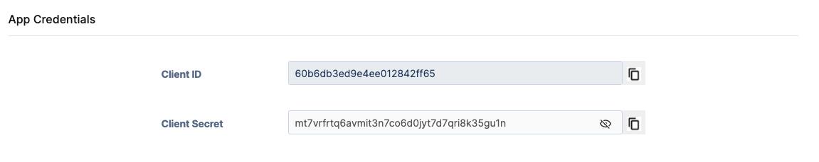 Gorgias OAuth2 Client ID and Secret example.