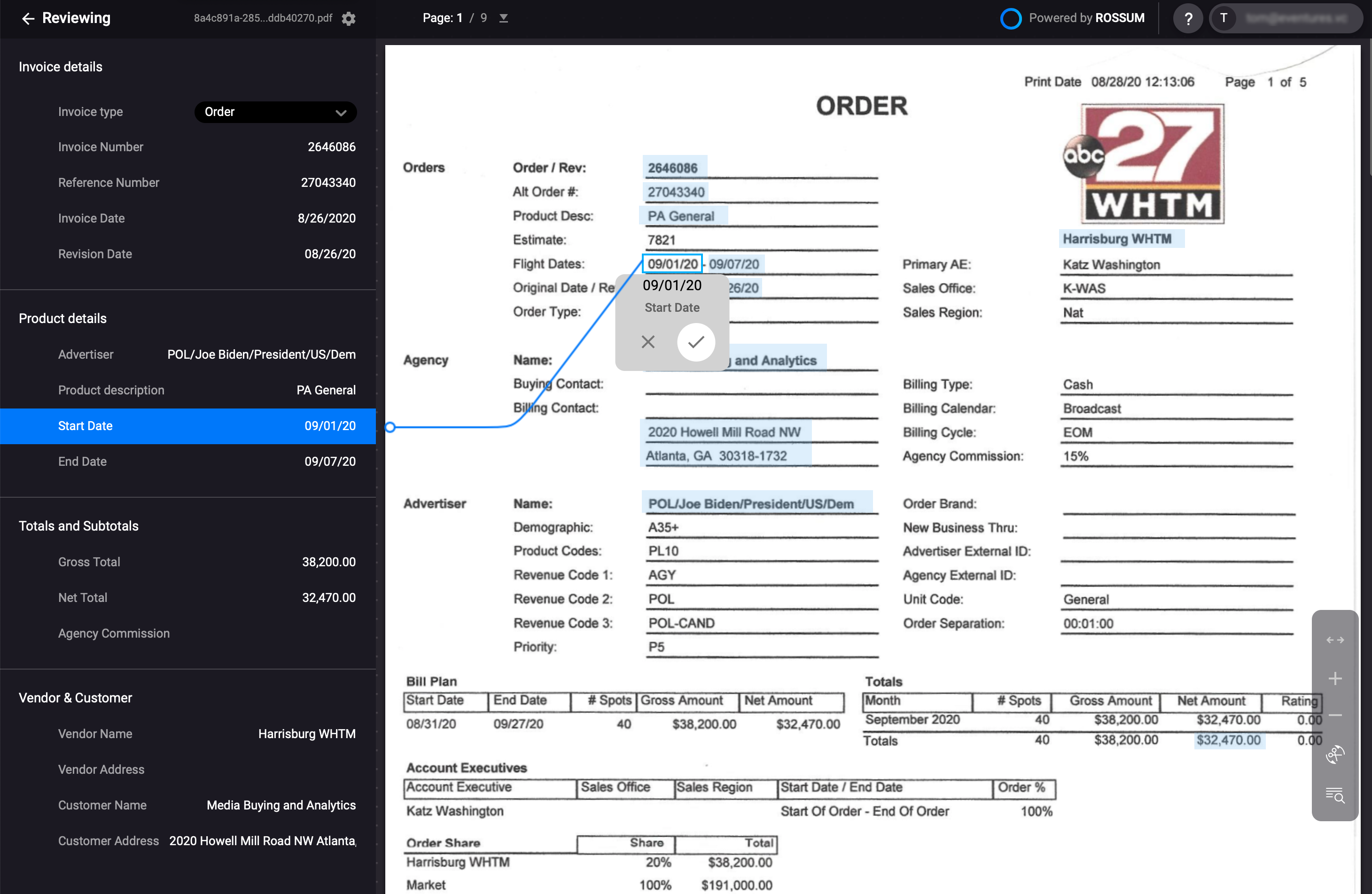 Rossum.ai user interface while annotating the flight start date of an order