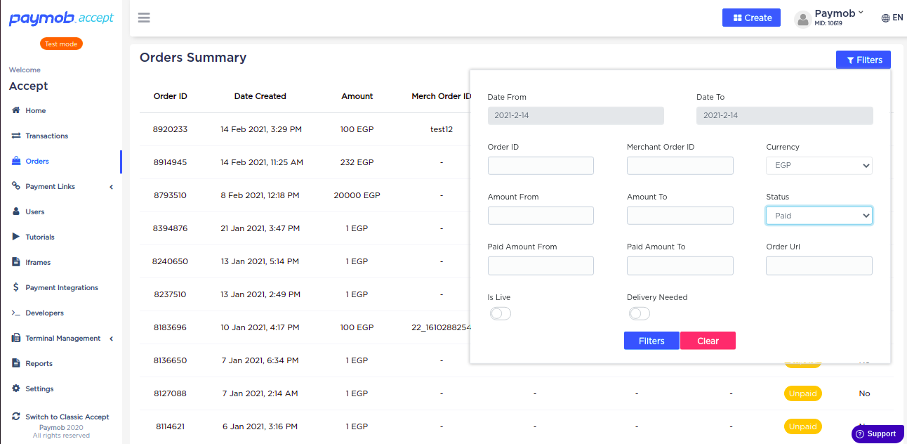 Accept Dashboard - Orders - Orders Summary - Filters.