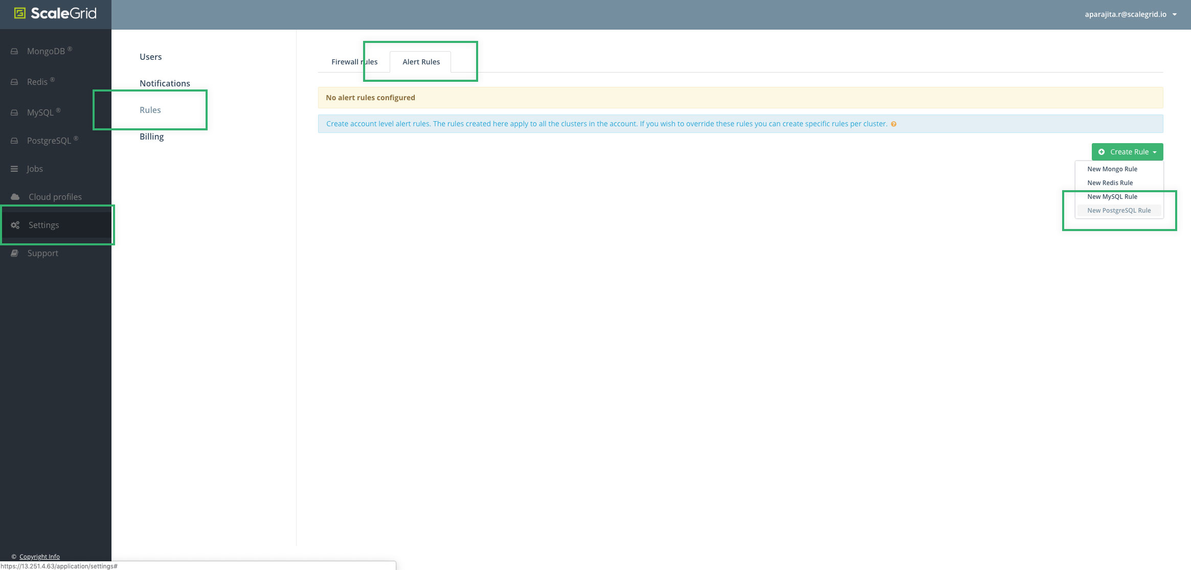 Create PostgreSQL Cluster Account-Level Alert Rules