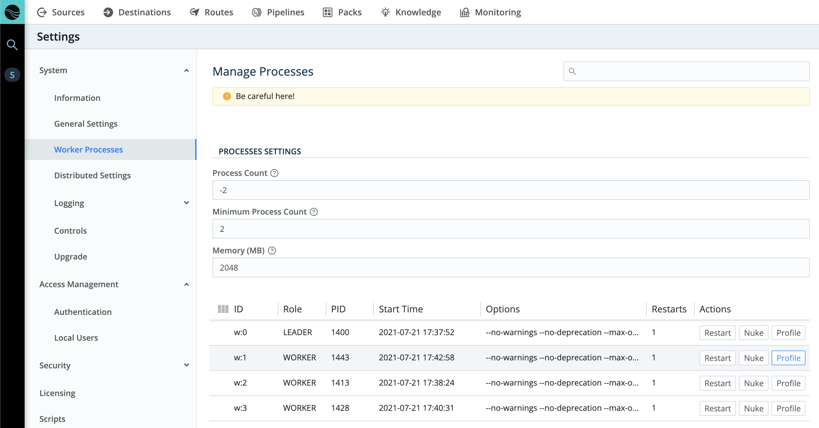 Worker CPU profiling (single-instance)