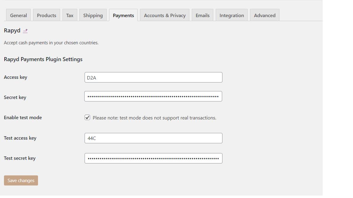 WooCommerce Payment Settings Secret Keys