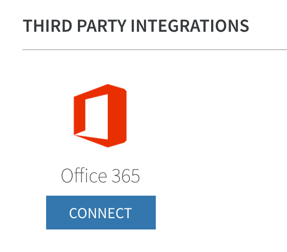 below the third party integrations heading click the connect button listed under the office 365 icon