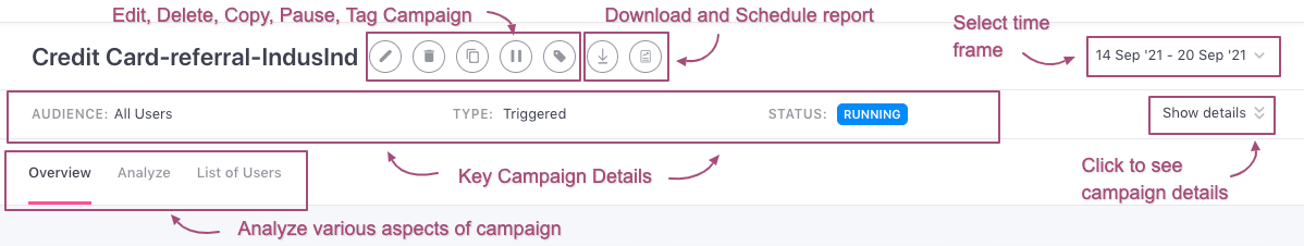 Top Panel indicating campaign details (click to enlarge)