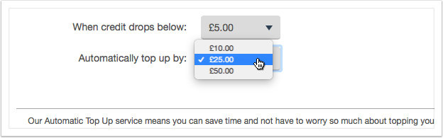 Select a top up amount