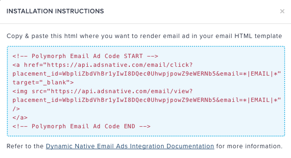 Create Email Ad Placement · Polymorph