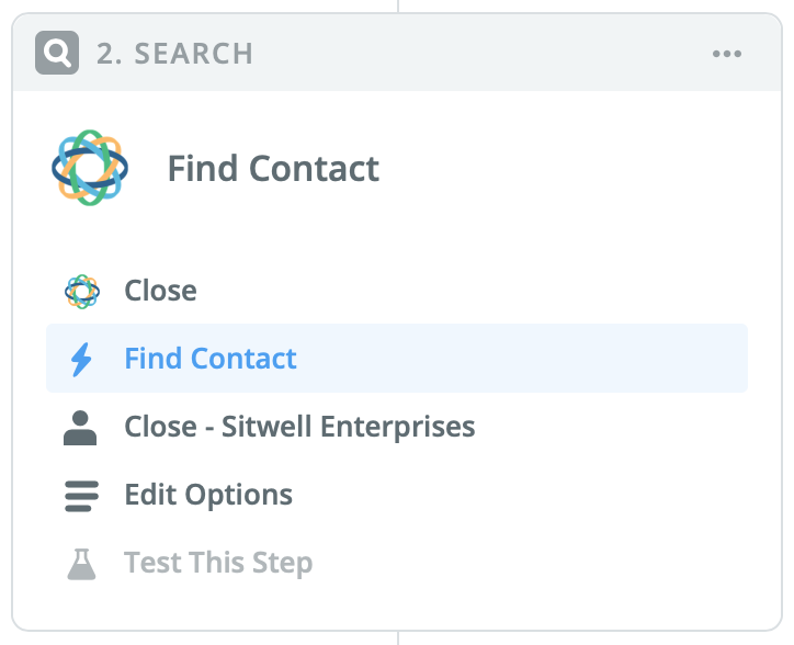 Find Contact search step in Zapier