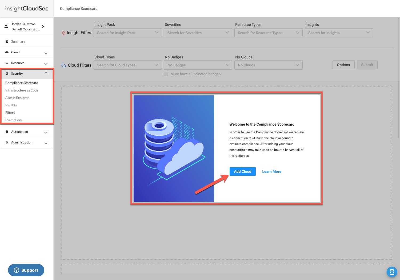 Open Compliance Scorecard & Add Your Cloud Account(s)