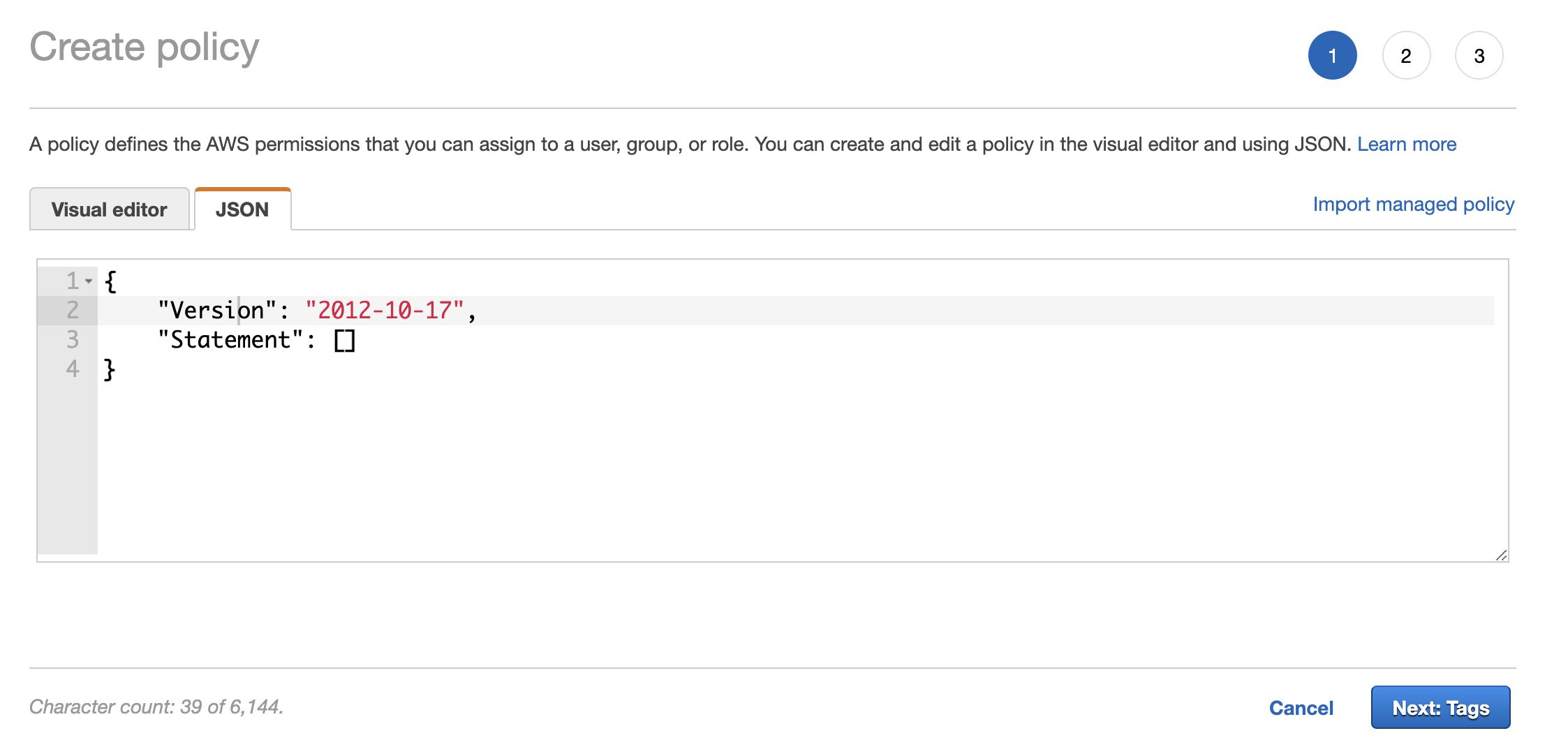 Custom policy JSON