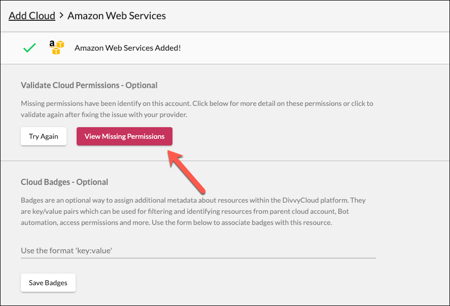 View Missing Permissions Option