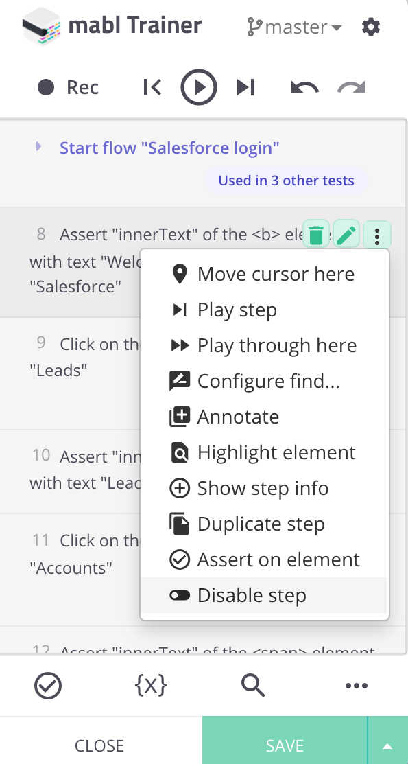 More actions menu with an option to disable the step.