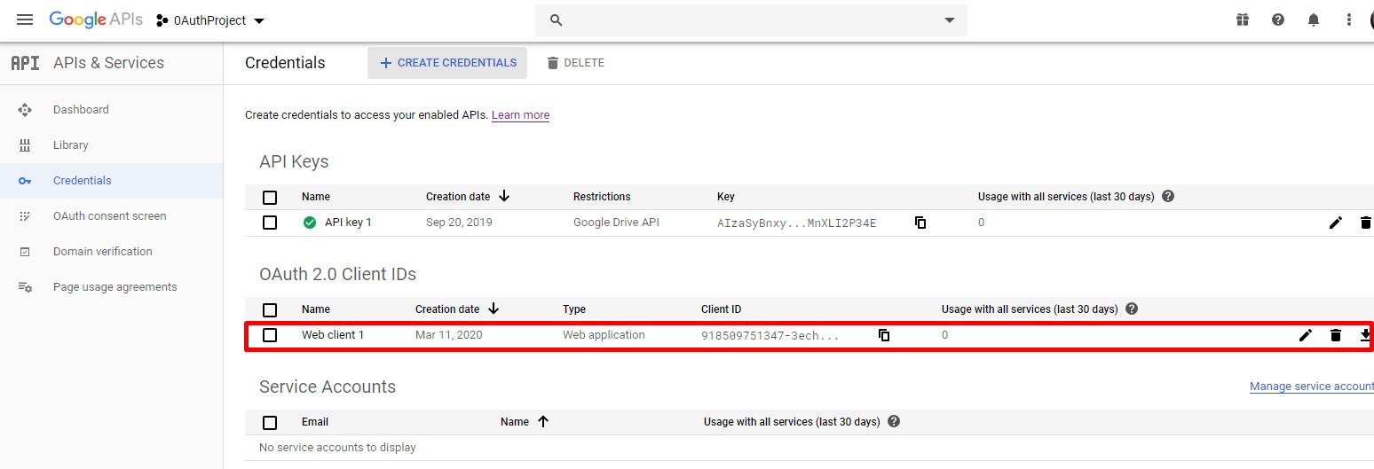 Google OAuth client