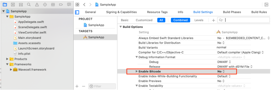 disable-bitcode-in-xcode-project