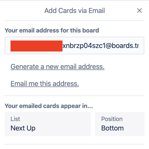 Email-to-board settings in Trello