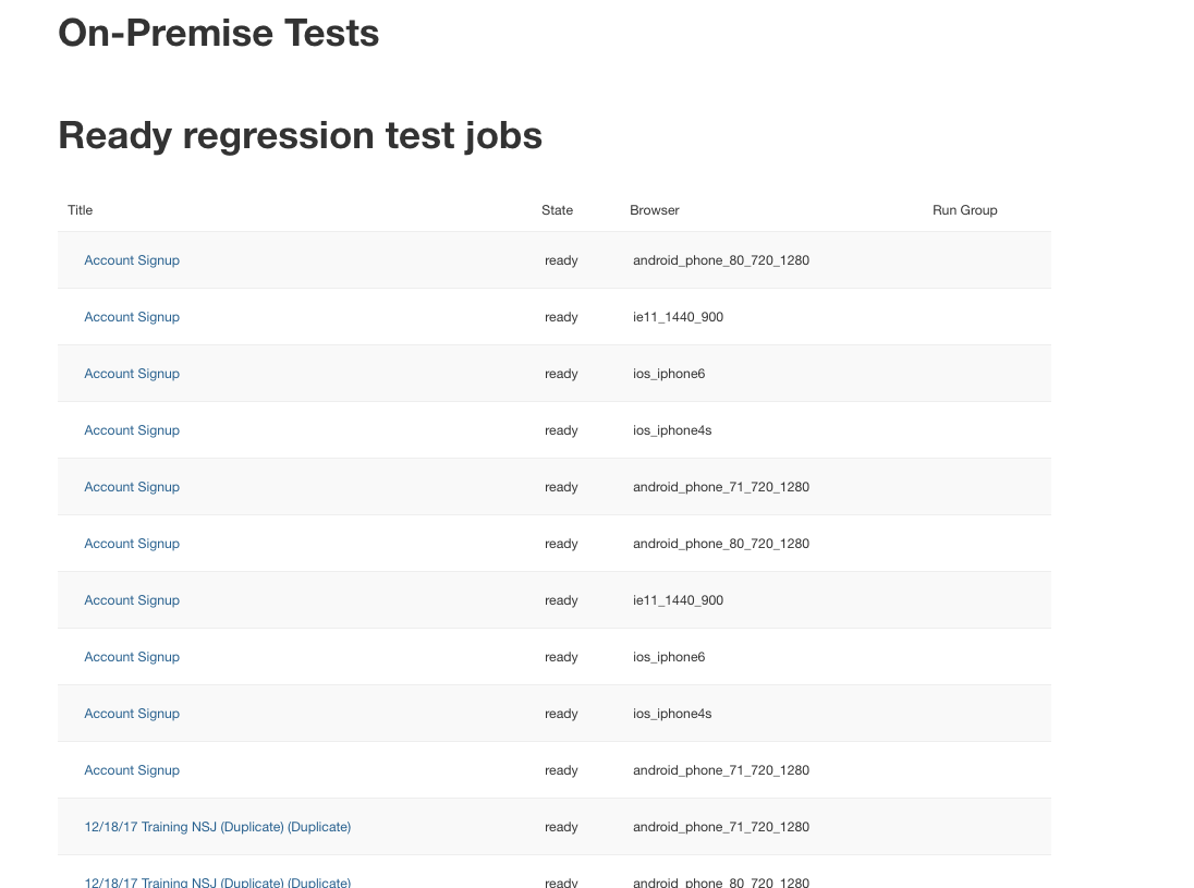 The On-Prem Tests page.