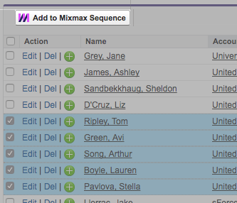 Example of the Mixmax SDK Sequence Picker button embedded in a third party product which shows a list of contacts that the user can select and add to the Mixmax sequence (using this API).