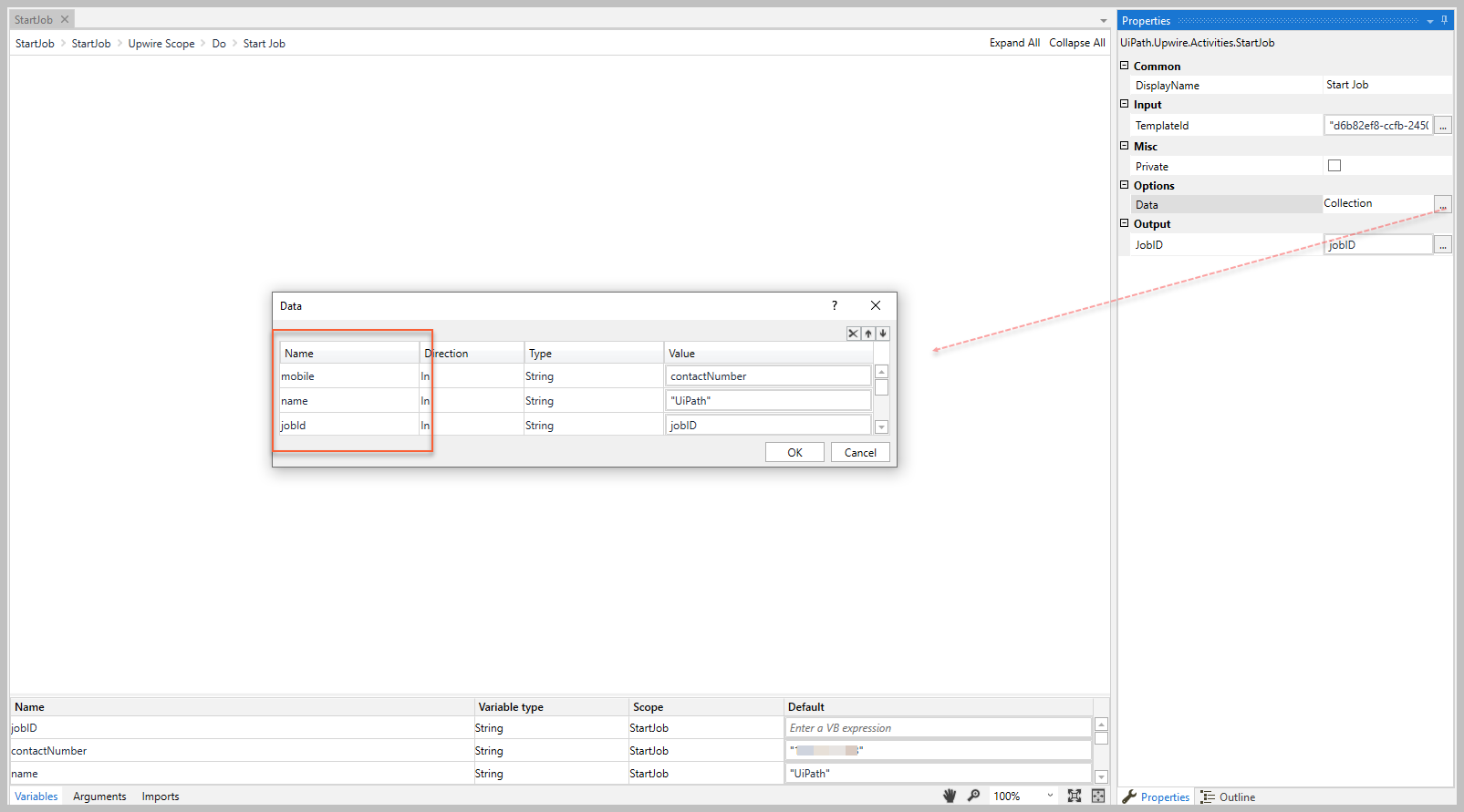 The data collection names must match template variable names.