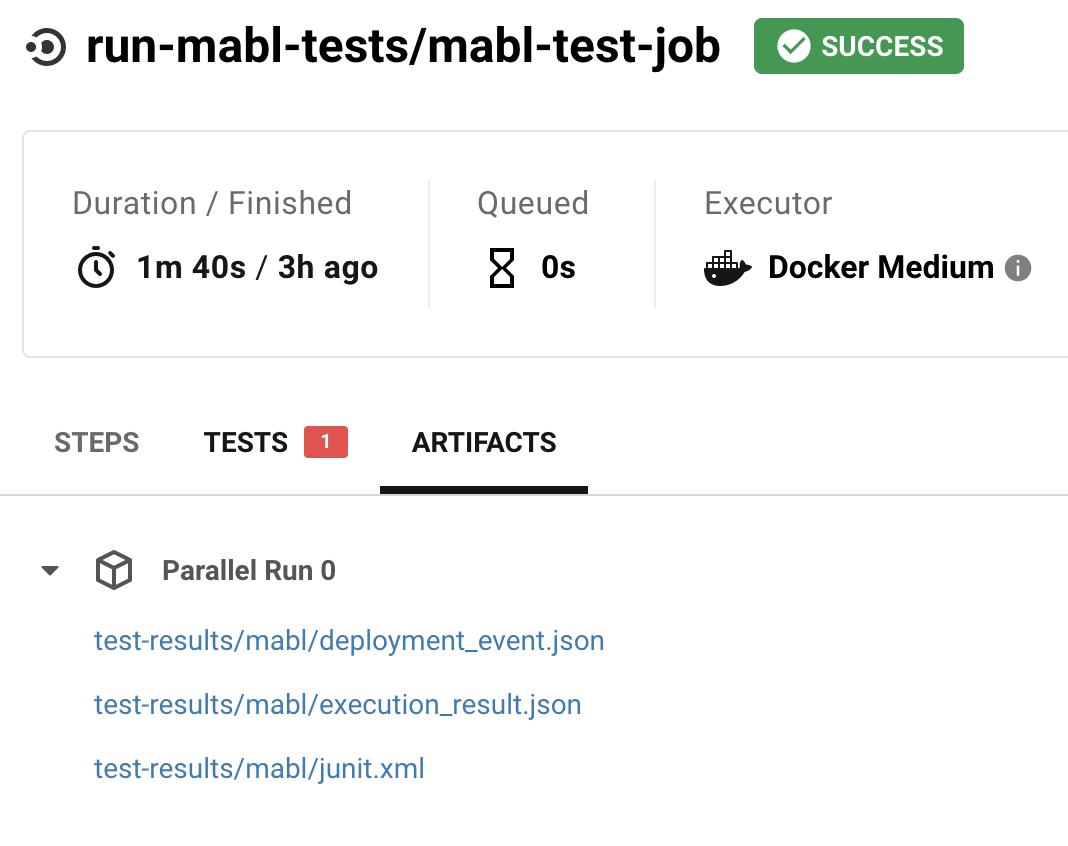 CircleCI interface showing mabl test artifacts including the JUnix XML report