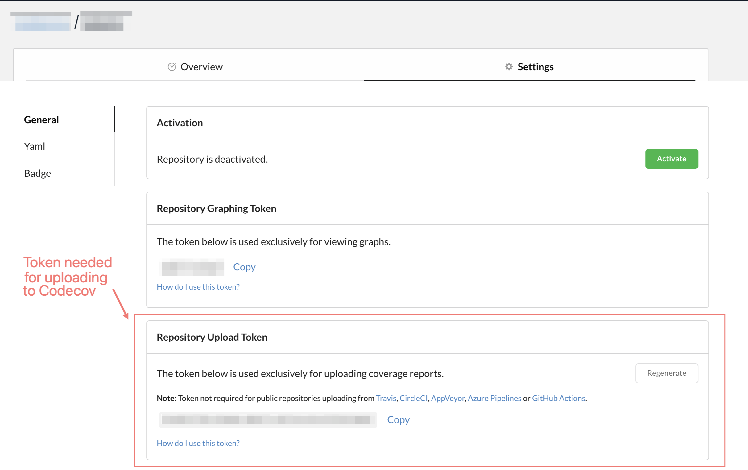 Repo settings page, including the Repository Upload Token